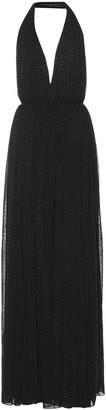 Saint Laurent Embellished halter dress