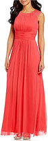 Jessica Howard Bead-Trim Shirred Mesh Gown
