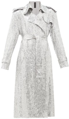 Norma Kamali Sequinned Double-breasted Trench Coat - Silver