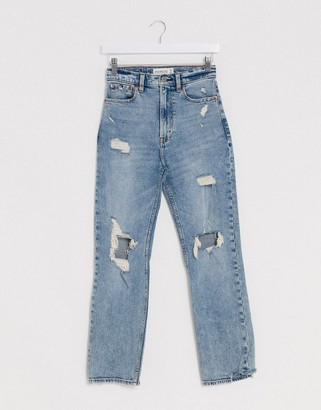 Abercrombie & Fitch high waist ripped knee denim jean in blue