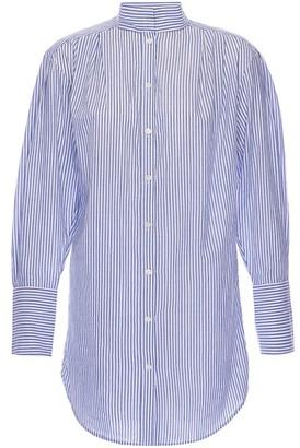 Frame Stand-Collar Striped Shirt