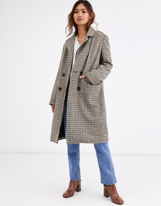 Qed London double breasted coat in heritage check