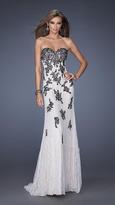 La Femme Gigi GiGi - Embellished Lace Applique Strapless Evening Dress 20076