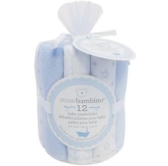 Piccolo Bambino Baby Washcloths - Blue (Set of 12)