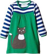 Toby Tiger Organic Cotton Cat Applique Long Sleeved T-Shirt Dress