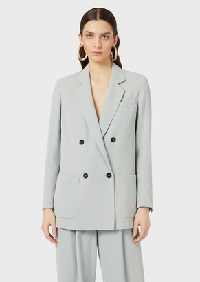 Emporio Armani Double-Breasted Blazer In Micro Chevron Fabric