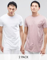 Asos 2 Pack Longline T-Shirt With Crew Neck In White/Pink