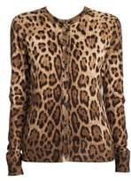 Dolce & Gabbana Leopard-Print Cashmere & Silk Cardigan