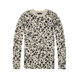 Maison Scotch Camel Black Leopard Print Fitted Pullover - M - Wood/Black