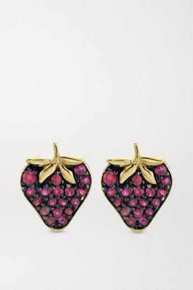 Sydney Evan Strawberry 14-karat Gold Ruby Earrings
