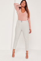 Missguided Plus Size D Ring Cigarette Trousers Grey