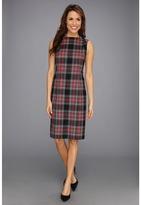Pendleton - Worsted Wool Flannel Simone Sheath Dress (Black Worsted Flannel Plaid) - Apparel