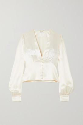 Saint Laurent Hammered Silk-satin Blouse - White
