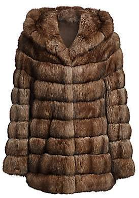 The Fur Salon Women's Hooded Sable Fur Jacket