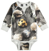 Molo Frank Long-Sleeve Soccer Ball Playsuit, Gray, Size 3-12 Months