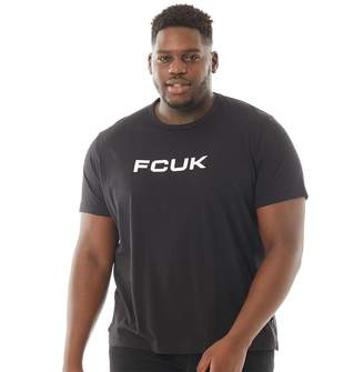 French Connection Mens Plus Size Chest T-Shirt Black/White