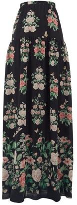 Giambattista Valli Floral-print Chiffon Maxi Skirt - Black Multi
