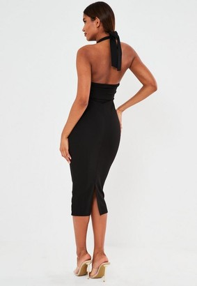 Missguided Black Plunge Multiway Belted Midaxi Dress