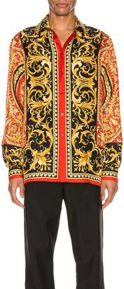 Versace Long Sleeve Shirt in Red Print | FWRD