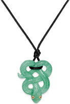 Macy's Ruby Accent Jade Snake Pendant Necklace in Silk and 14k Gold
