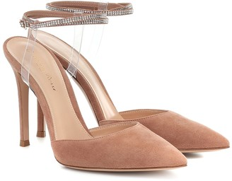 Gianvito Rossi Jewel embellished suede pumps