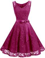Dressystar Women Floral Lace Bridesmaid Party Dress Short Prom Dress V Neck M