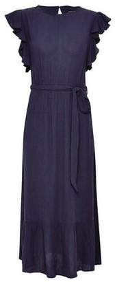 Dorothy Perkins Womens Navy Ruffle Sleeve Midi Dress