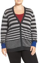 Sejour Plus Size Women's Wool & Cashmere V-Neck Cardigan