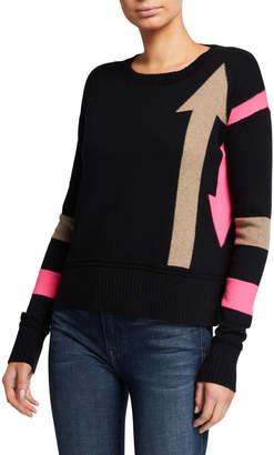 LISA TODD Arrow Intarsia Crewneck Cotton-Blend Sweater w/ Stripes