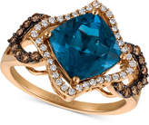 LeVian Le Vian Chocolatier Deep Sea Blue Topaz (3-3/8 ct. t.w.) and Diamond (3/8 ct. t.w.) Ring in 14k Rose Gold