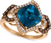 LeVian Le Vian Chocolatier® Deep Sea Blue TopazTM (3-3/8 ct. t.w.) and Diamond (3/8 ct. t.w.) Ring in 14k Rose Gold