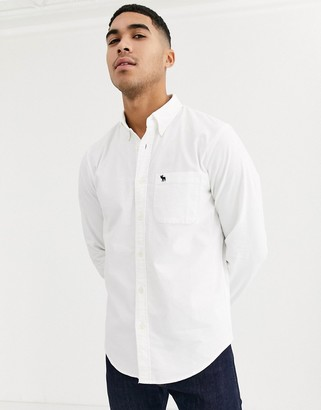 Abercrombie & Fitch icon logo slim fit core oxford shirt in white