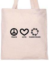 Shirt Mania PEACE LOVE TAMBOURINE Music Musician Tote Bag