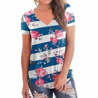 Toamen Women's Tops Toamen Womens Boho T-Shirt Sale Summer Short Sleeve Loose Casual V-Neck Floral Print T-Shirt Tops Blouse (Blue 8)