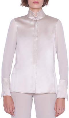 Akris Silk Satin Button-Front Blouse