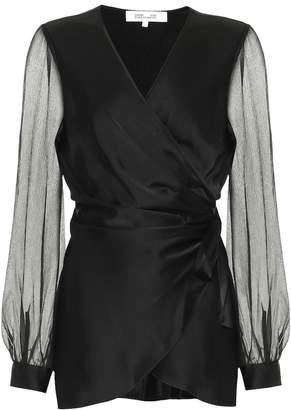Diane von Furstenberg Klee satin and chiffon wrap top
