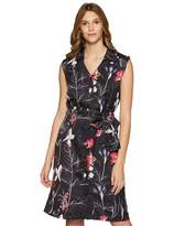 Private Label Boutique23 Womens Sleeveless Dark Floral Collared Shirt Dress with Waist Tie Up Medium