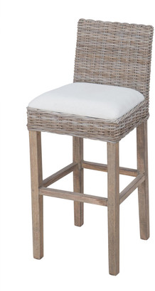 East At Main Durham Rattan Barstool With Upholstered Seat And Wood Base