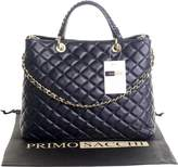 Primo Sacchi Italian Navy Blue Leather Top Handled Quilted Shoulder Bag Handbag, with Metal Chain and Leather, Strap Includes a Branded Protective Storage Bag