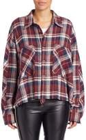 Faith Connexion Women's Cotton Plaid Curved Hem Shirt