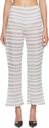 Christina SSENSE Exclusive Grey Striped Sheer Lounge Pants
