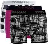 Topman Black Paint Brush Print Trunks 3 Pack
