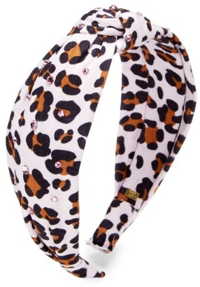 Bari Lynn Girl's Leopard-Print Knot Swarovski Crystal-Embellished Headband