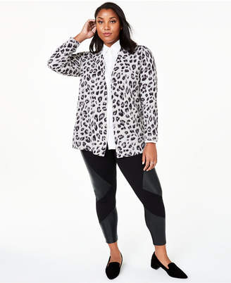 Charter Club Plus Size Cheetah-Print Cashmere Completer Sweater
