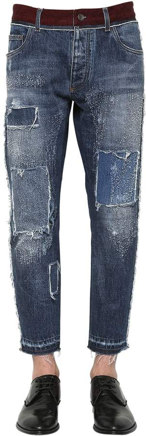 Dolce & Gabbana 17cm Denim On Denim Cotton Jeans