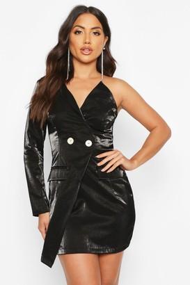boohoo Satin One Shoulder Blazer Dress