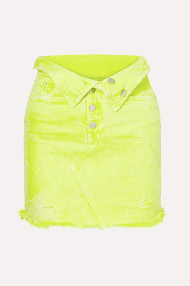 Amiri Fold-over Distressed Denim Mini Skirt - Yellow