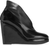 Maison Margiela Patent and smooth leather wedge pumps