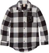 Arizona Long Sleeve Sequin Pocket Flannel Shirt - Girls 7-16 and Plus