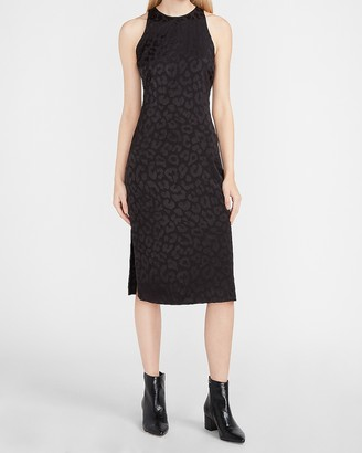 Express Leopard Jacquard Midi Slip Dress